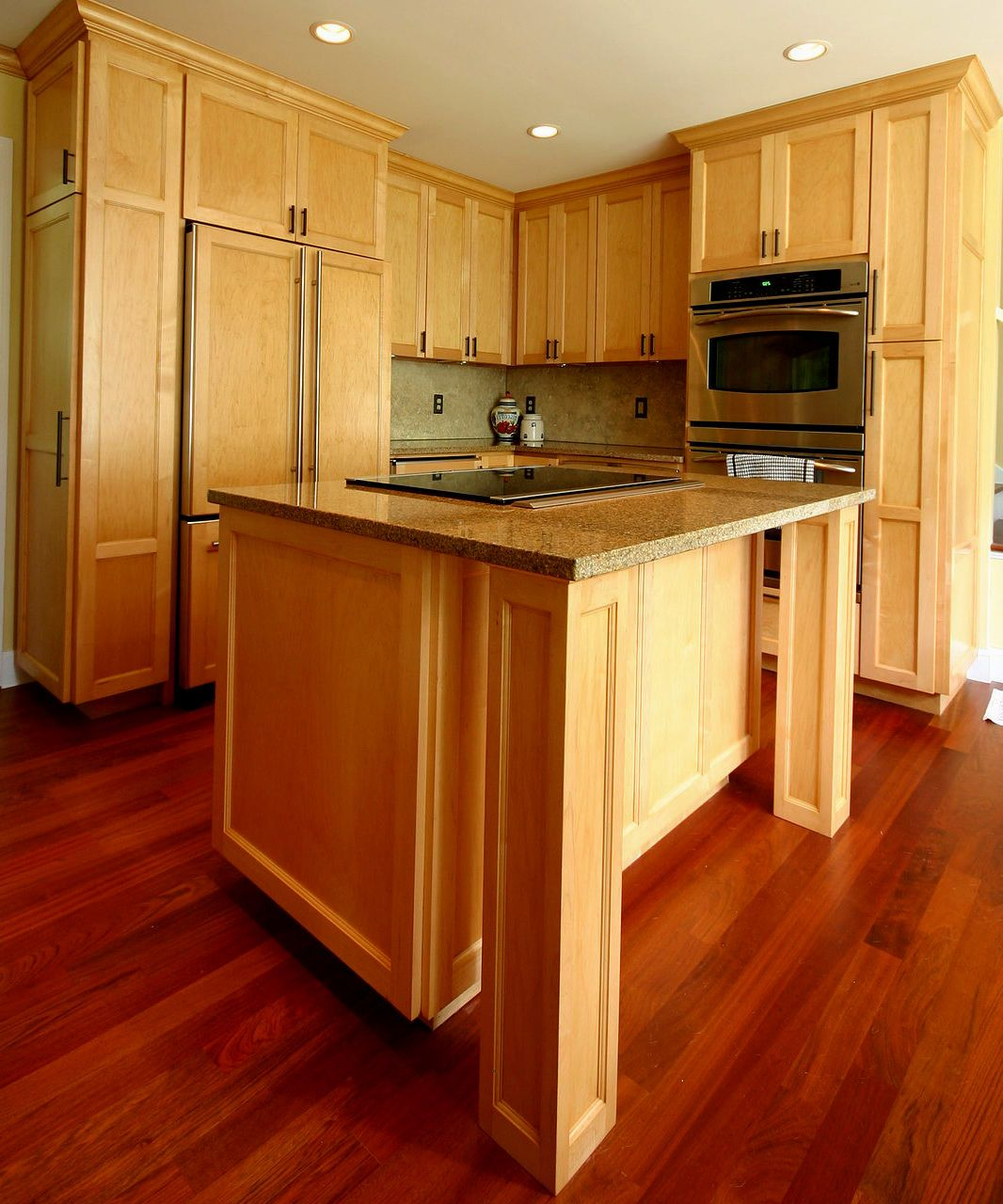 Image result for maple kitchen cabinets with dark wood ... on Maple Kitchen Cabinets With Dark Wood Floors Dark Countertops  id=39812