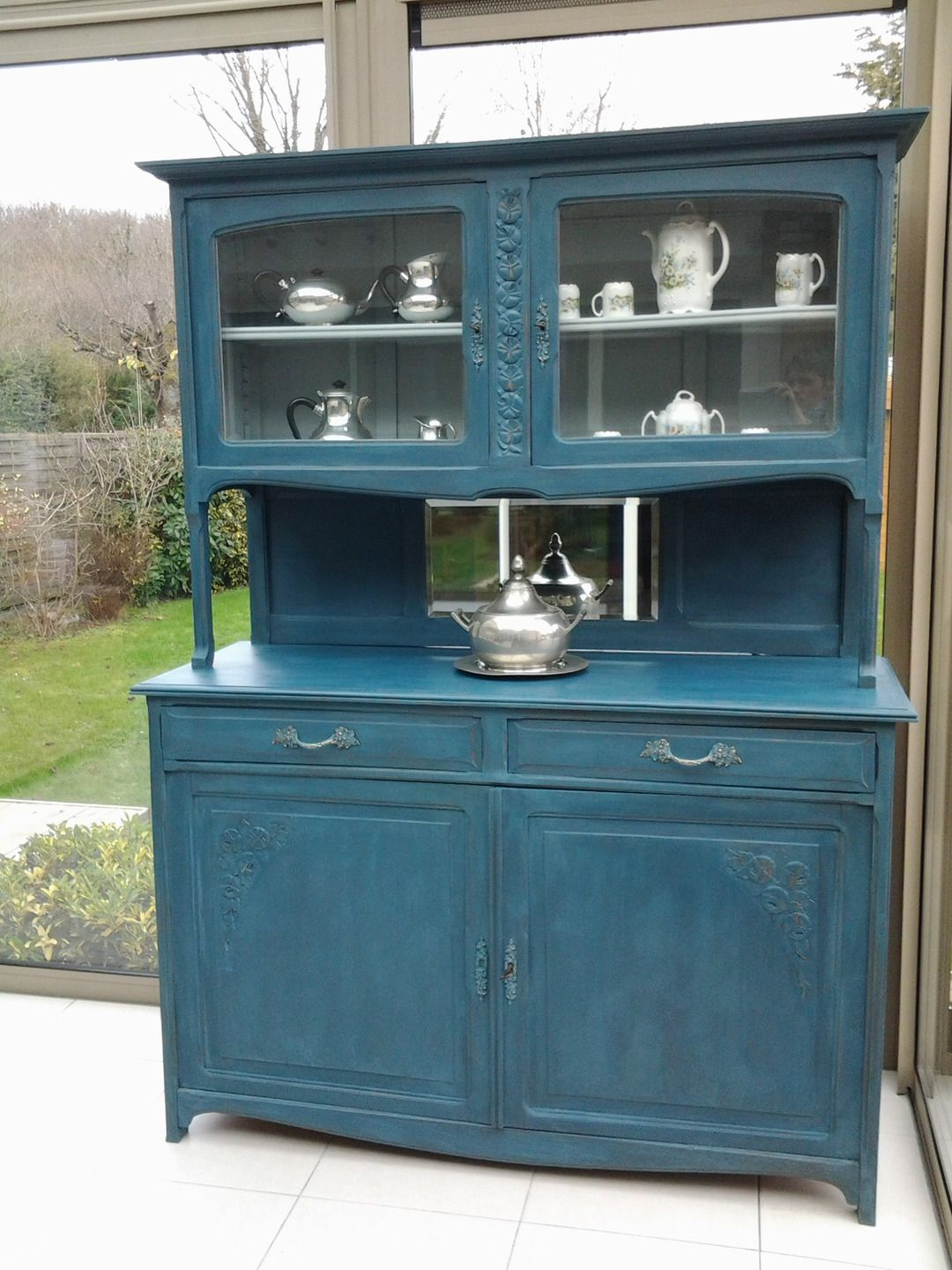 Buffet deux corps art d co patin bleu aubusson art d co - Meuble ancien patine gris ...