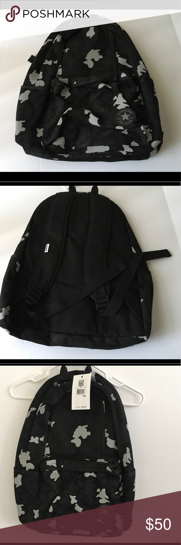 79aad21622 Converse - Original Core Plus camouflage Backpack Converse camouflage  backpack Black gray 5 pockets (2sides