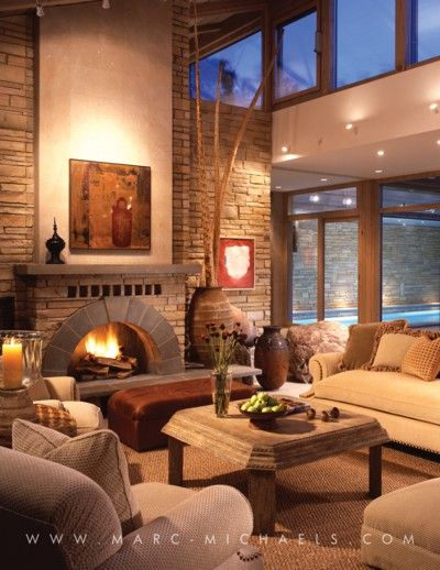marvellous interior design living room fireplace | Marc-Michaels Interior Design. Lovely living room lighting ...