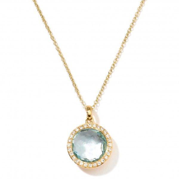 18K Gold Mini Lollipop Pendant Necklace in Blue Topaz with Diamonds - Pendant | Ippolita