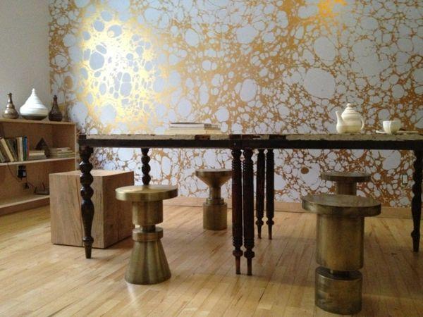 metallische tapeten mit marmorelementen aus calico wadnpapier ... - Tapeten Wohnzimmer Ideen 2013