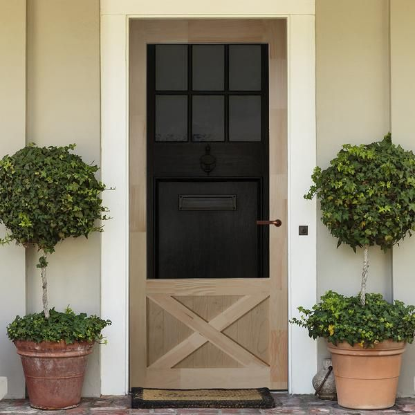 Screen Storm Door Wood Thompson Brick Exterior House Front Door Planters Beautiful Front Doors