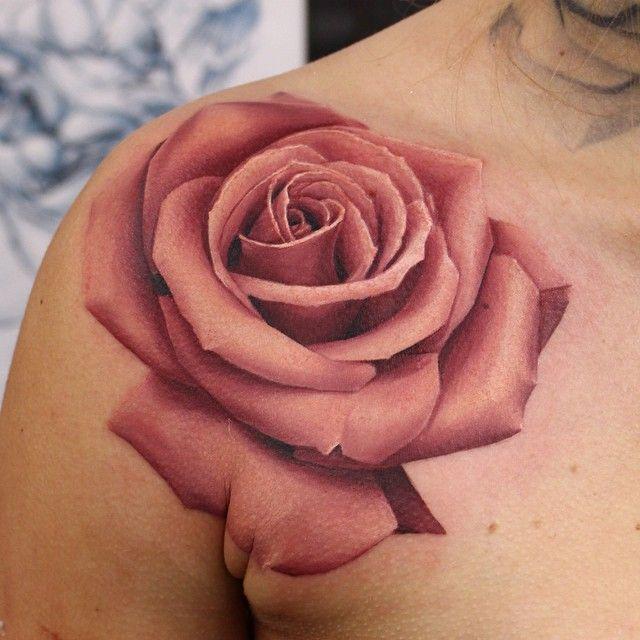 10 Incredible Rose Tattoos By John Anderton Rose Shoulder Tattoo Rose Tattoos Pink Rose Tattoos