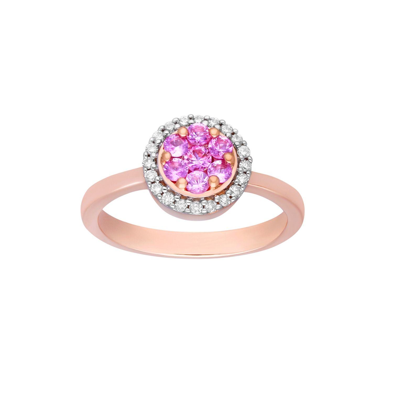 1 ct Natural Pink Sapphire /& 1//8 ct Diamond Ring 14K Gold
