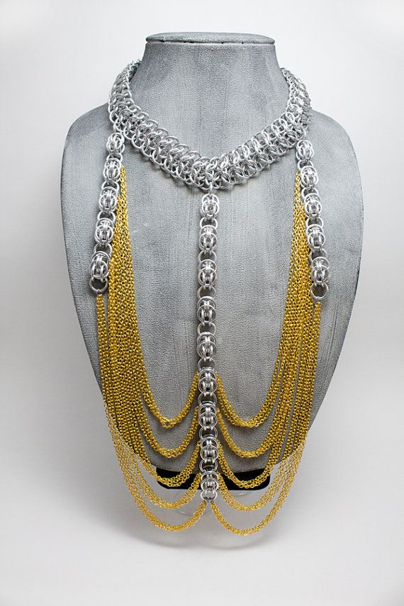 The Golden Drape - Aluminum Chainmail Statement/Fashion Jewelry Necklace with Gold Plated Chain
