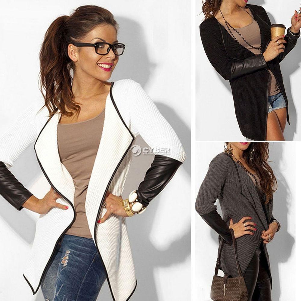 Details about 2016 Women Jacket Blazer Long Sleeve Knitwear ...