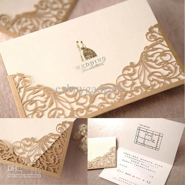 High Quality Gold Lace Cut Out Wedding Invitations Party Cards Invitation 100pcs Lot