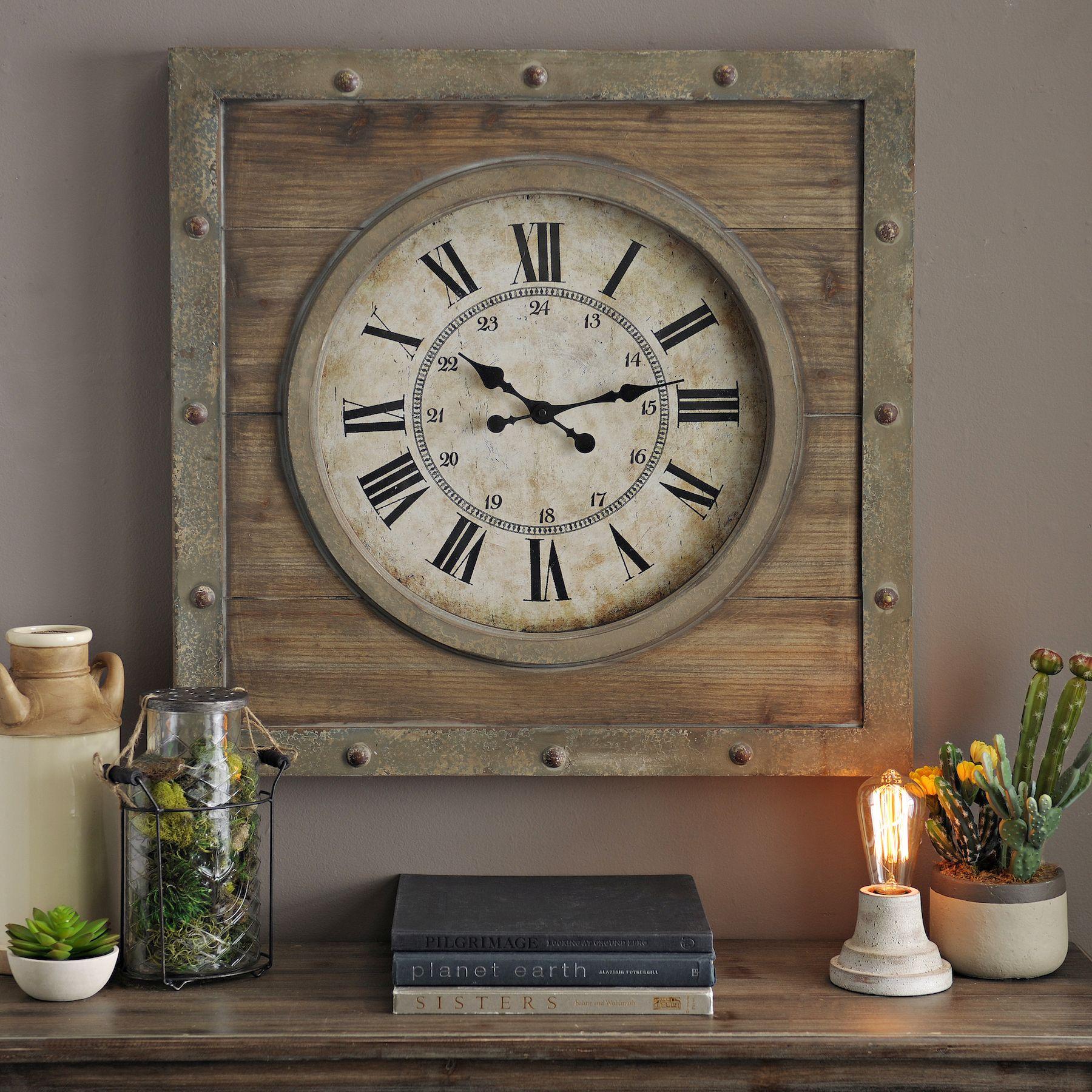 Natural wood plank clock industrial wall clocks wall clocks and