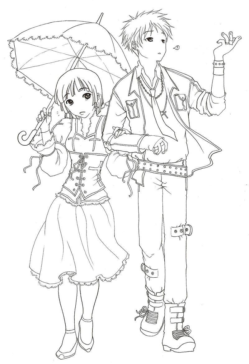 awesome Anime Couple Coloring Pages | Coloring Pages For Child ...