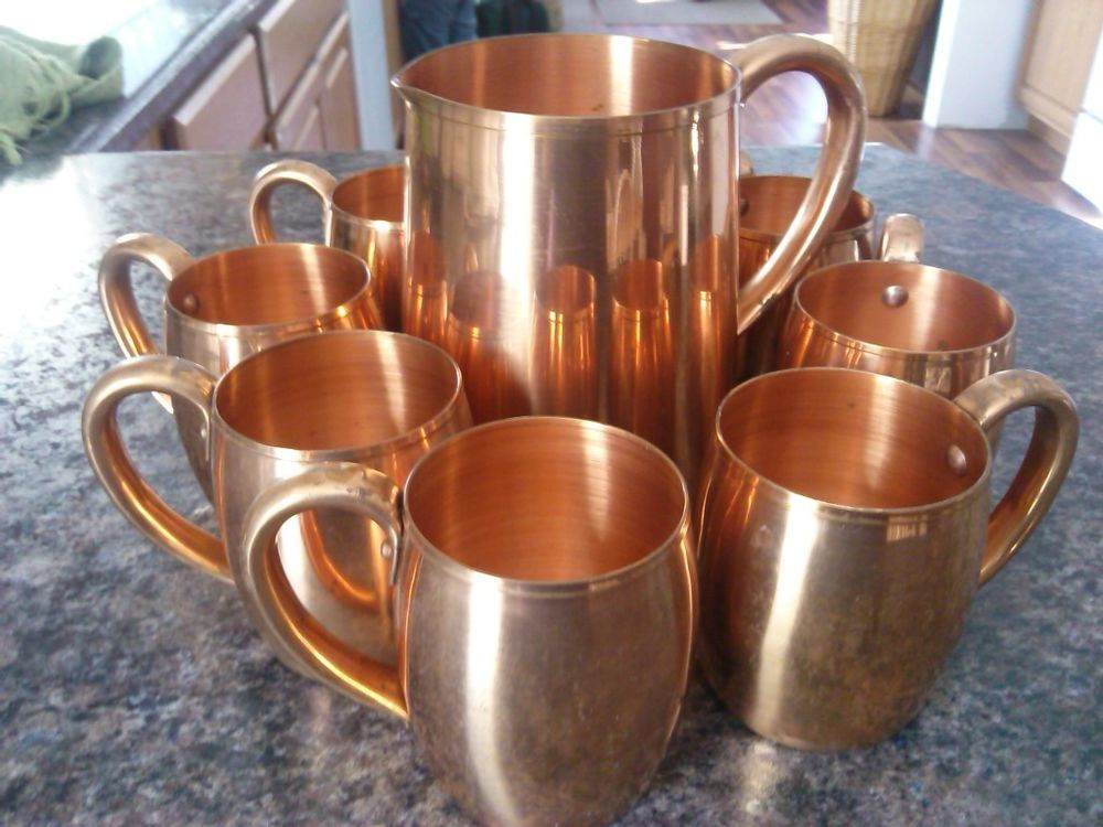 set vintage west bend solid copper mugs cups and pitcher tankard moscow mule copper love. Black Bedroom Furniture Sets. Home Design Ideas