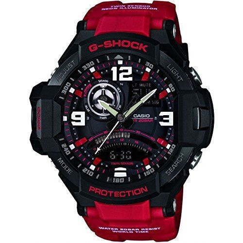 a2d1de95d487 G-Shock Aviator Black Dial Red Strap Chronograph Premium Watch With Digital  Compass And Thermometer GA-1000-4BER