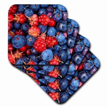 3dRose Wild Berries, Soft Coasters, set of 8