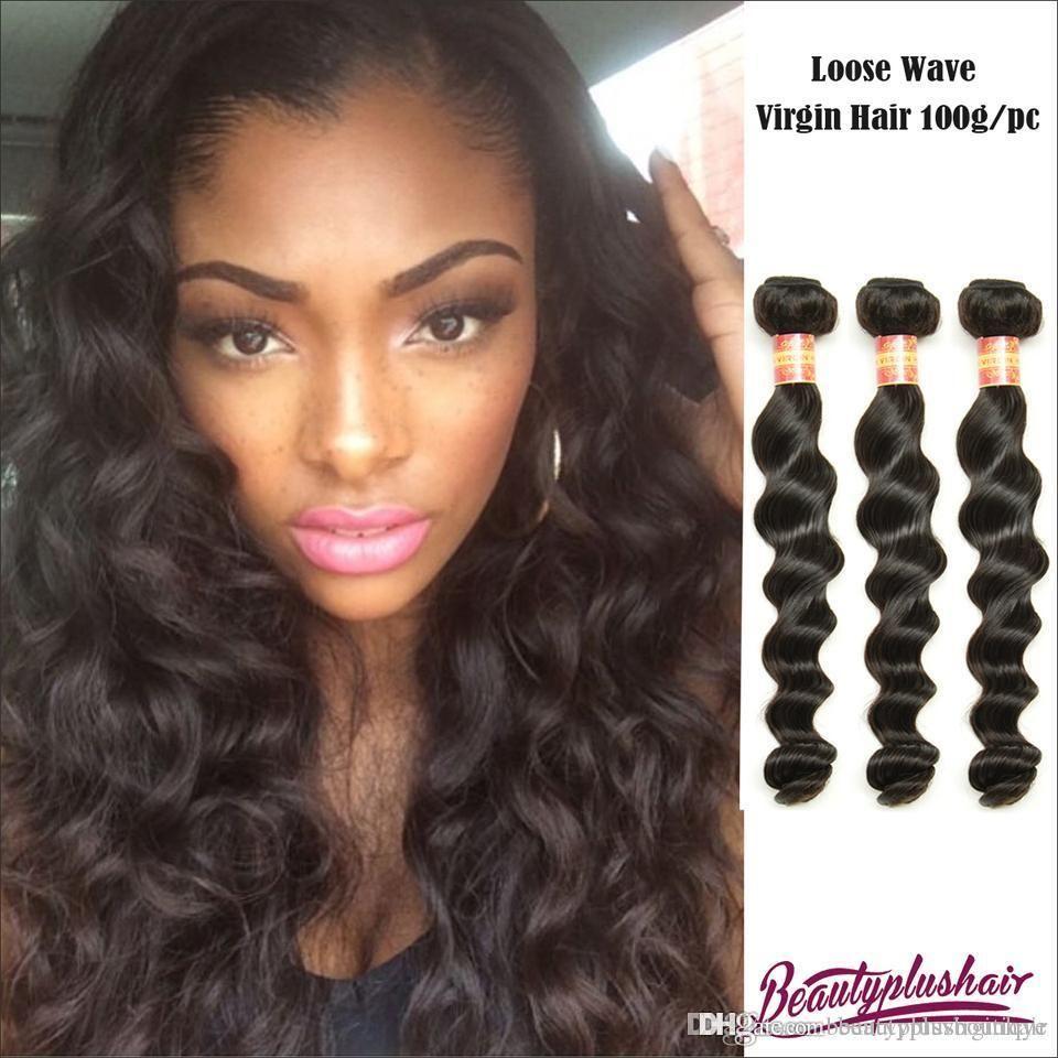 Loose Wave Hair Bundles Brazilian Virgin Hair Weaves Natural Black