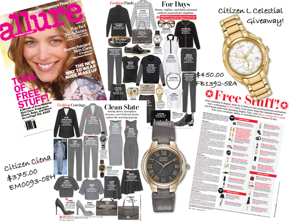 @alluremagazine August giveaways! Sign up to win a Citizen Celestial!