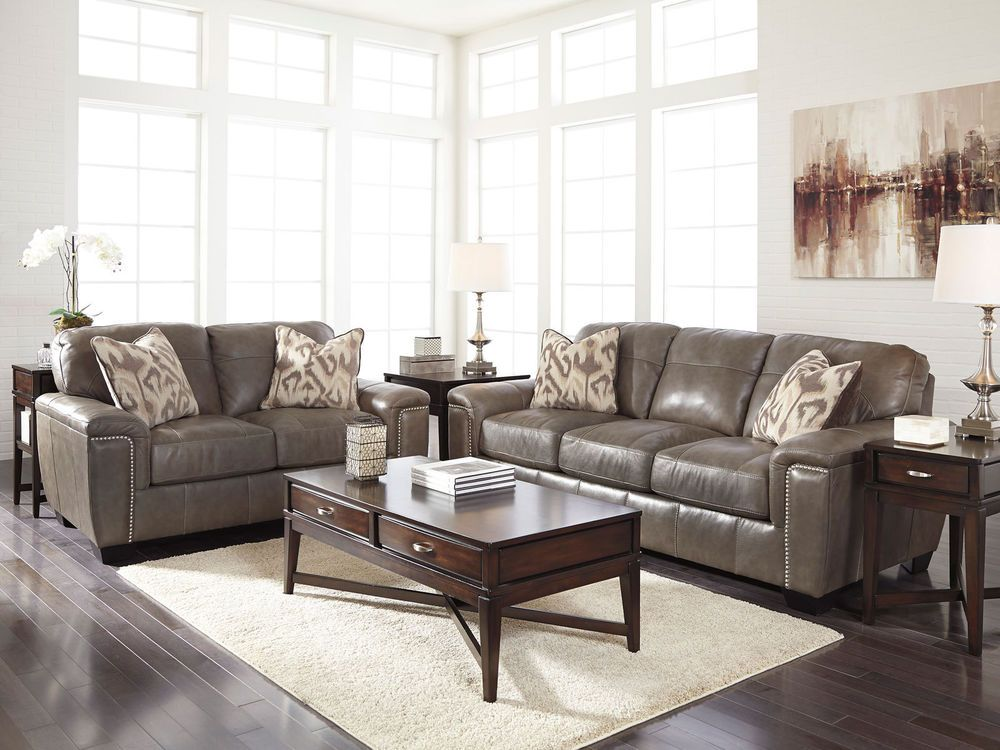 Herman Modern Real Taupe Leather Sofa Couch Loveseat Set