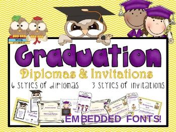 diplomas and invitations in themes for prek kindergarten first