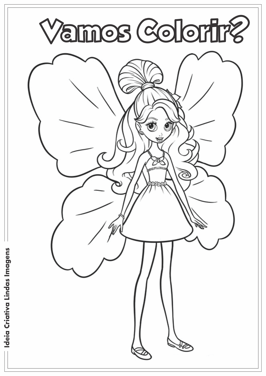 Ideia Criativa Lindas Imagens Barbie Thumbelina desenho pra colorir