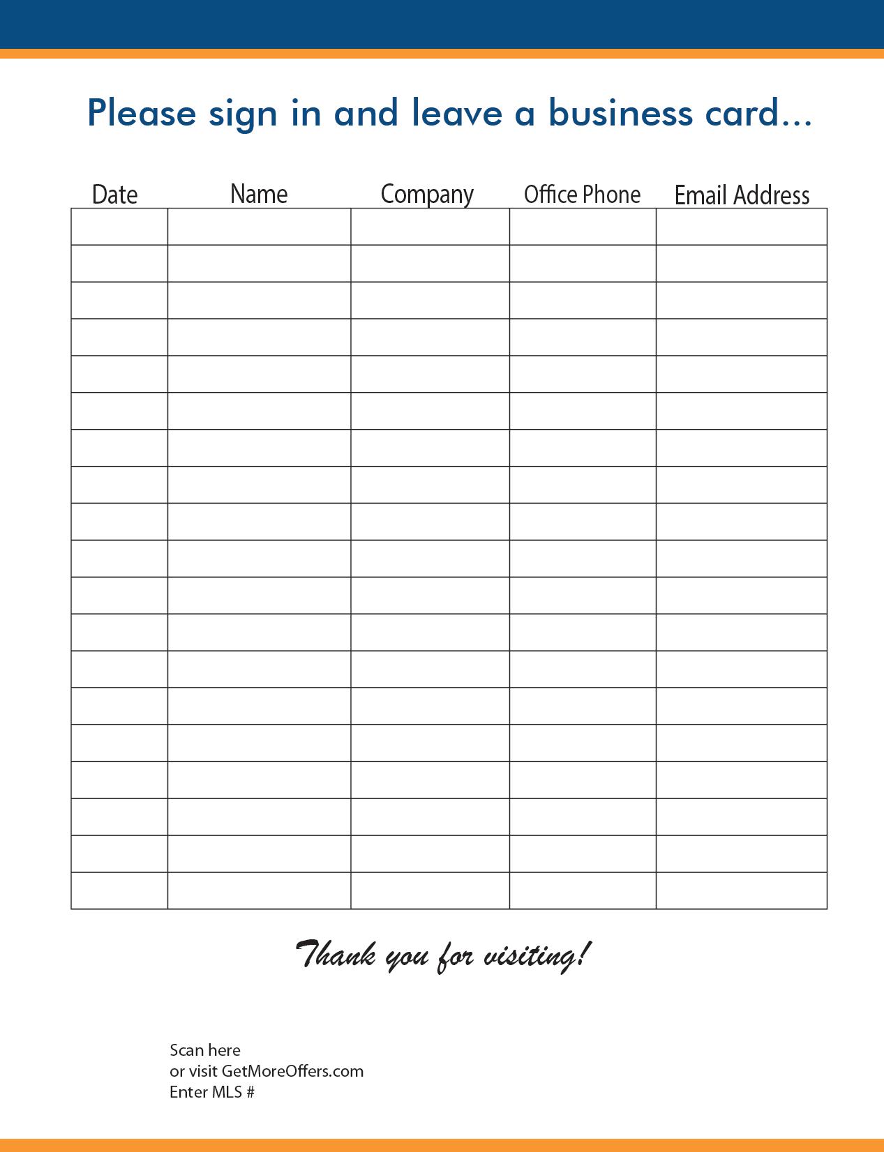Realtors Sign In Sheet Examples