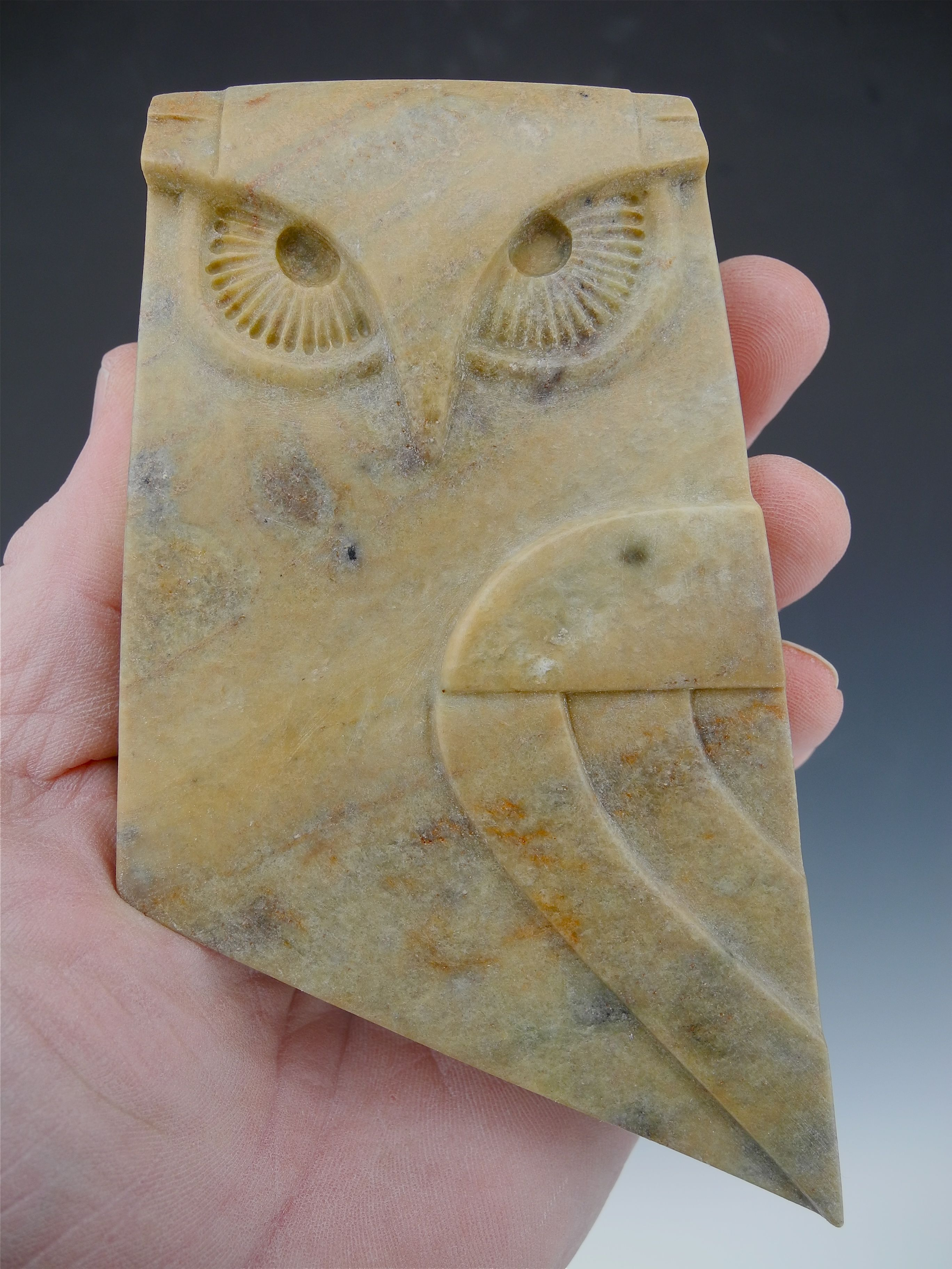 Carved owl sculpture brazilian soapstone by tj