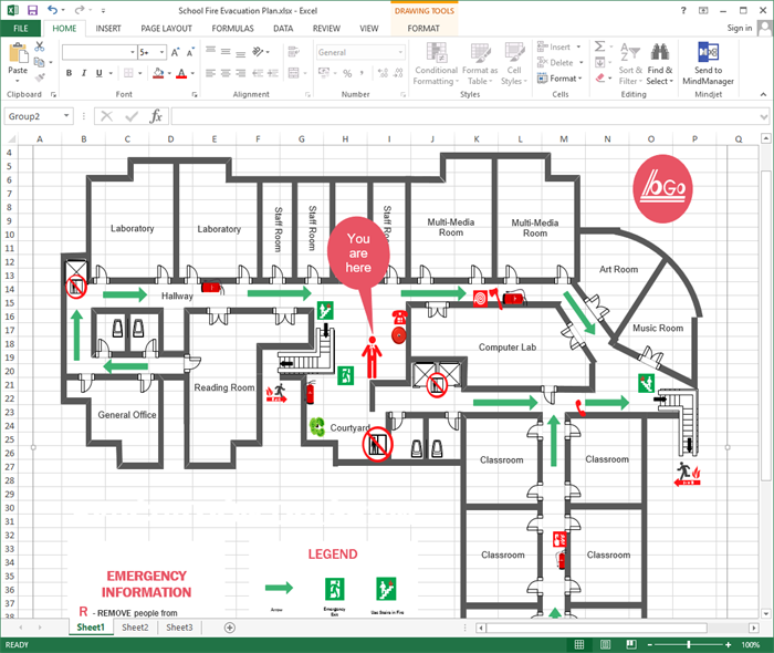 Fire Escape Floorplan In Excal Made By Edraw Max The Aim Of An Evacuation Plan Is To Offer A Visual Procedures To Be U Evacuation Plan How To Plan Evacuation
