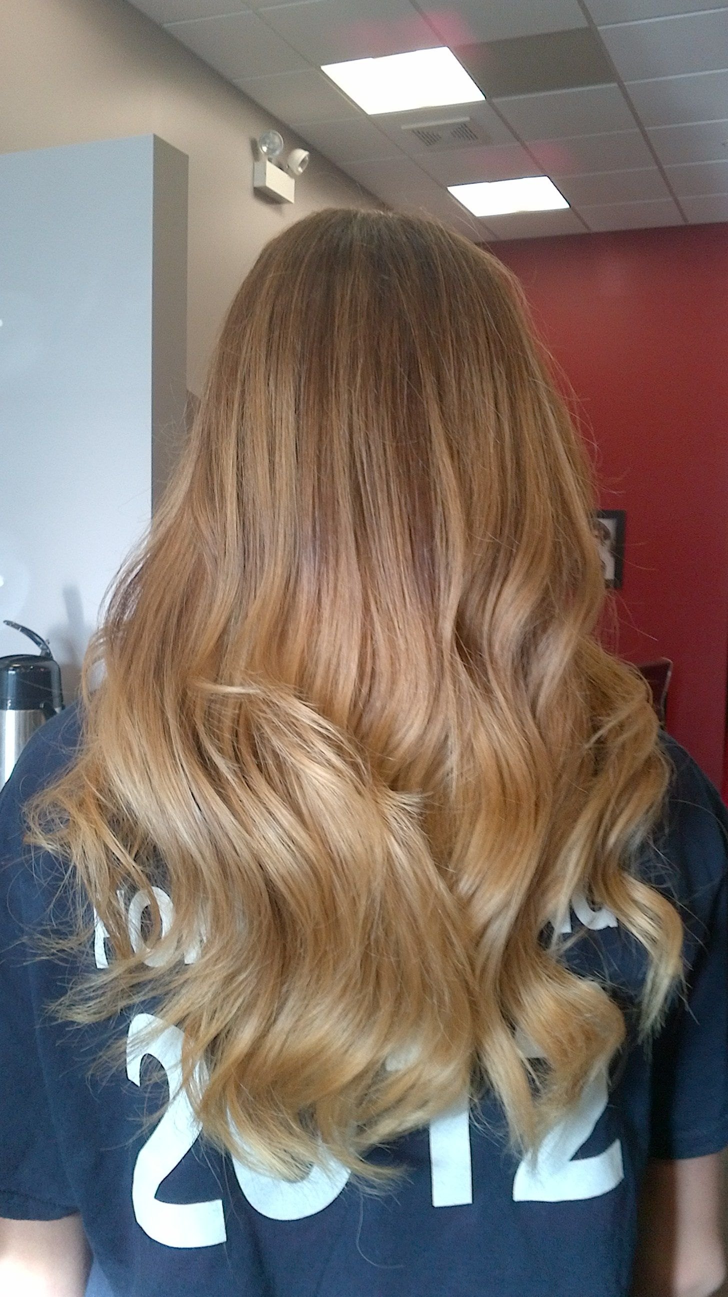 Blonde highlights in a soft ombre medium to dark blonde hair