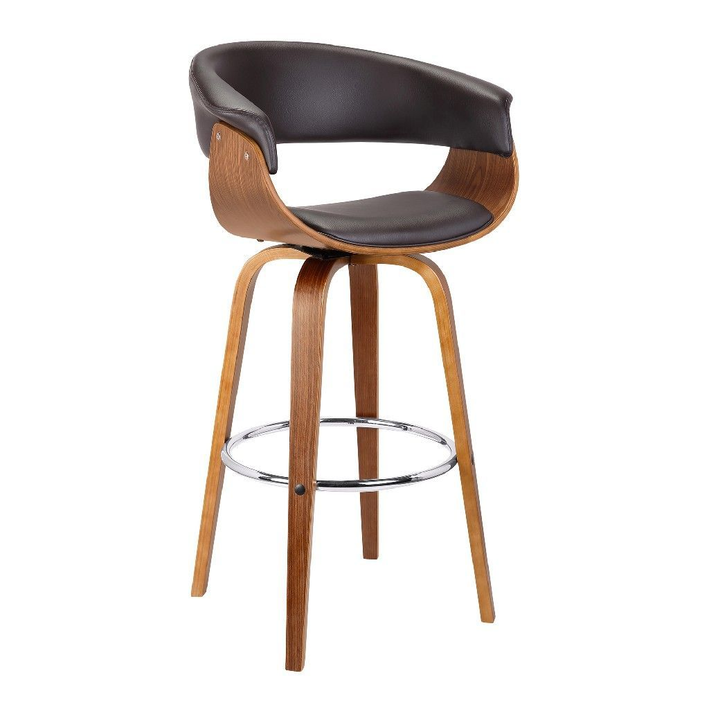 Armen Living Julyssa 26 Mid Century Swivel Counter Height Barstool In Brown Faux Leather W Walnut Wood Ar In 2020 Wood Bar Stools Upholstered Bar Stools Bar Stools Armen living bar stools