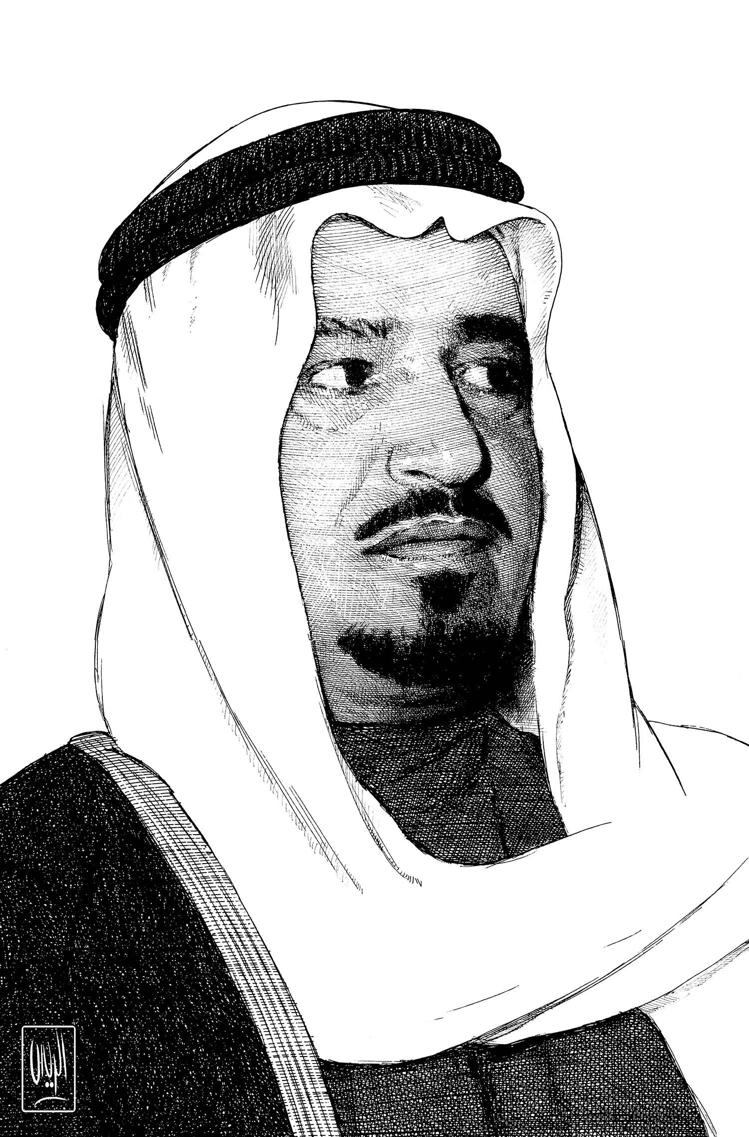 King Khalid Rayes Khalid Oil Painting Ink