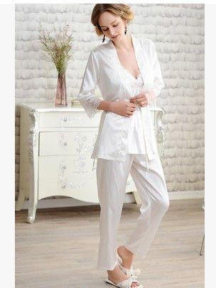 Silk pajamas For Women Noble white robes Lace Pajama Sets Ladies Silk  Sleepwear 3Picecs Set 589a80127