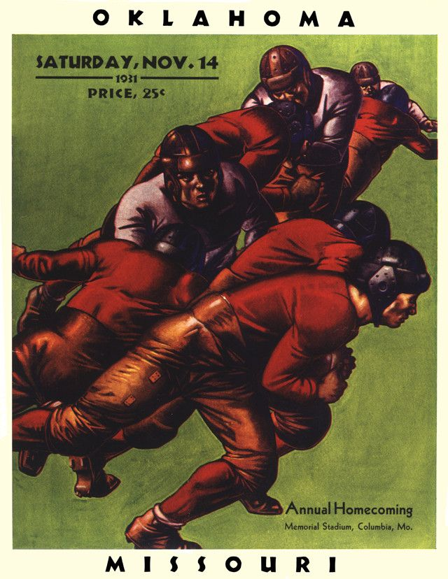 1931 Missouri Tigers Vs Oklahoma Sooners 22 X 30 Canvas Historic Footb By Mounted Memories Game Day Treasure Football Poster Oklahoma Sooners Missouri Tigers