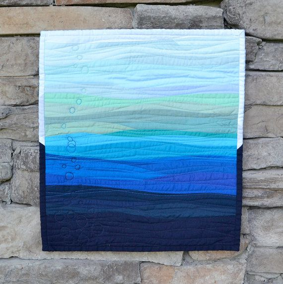 Quilted Wall Hanging quilted wall hanging, ocean waves, fiber wall art, blue wall
