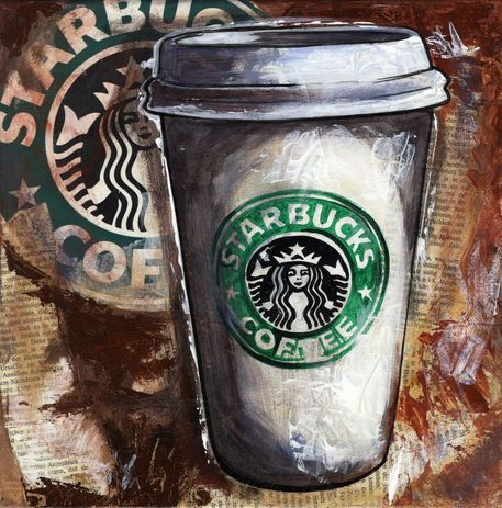 """starbucks art   Tasty Coffee time/Acryl Collage"""" Painting art prints and posters by ..."""