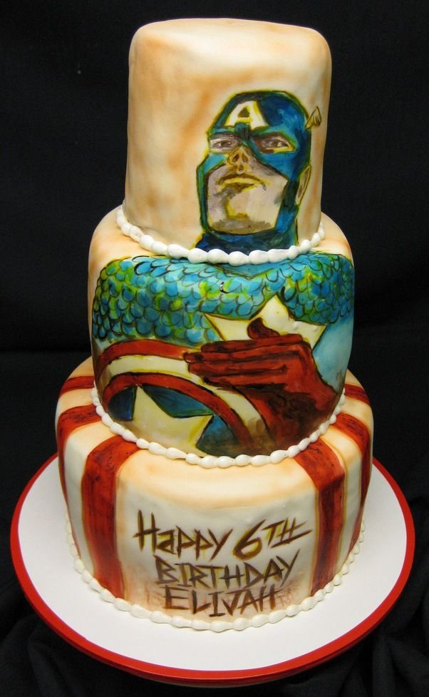 Awesome Hand Painted Captain America Cake | Hand painted ...