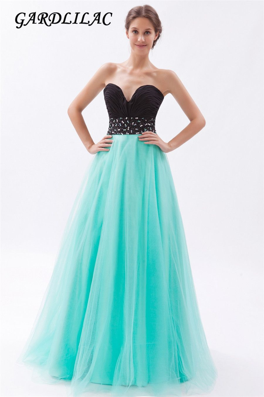 Gradient sweetheart beading tulle mint long evening dress A Line ...