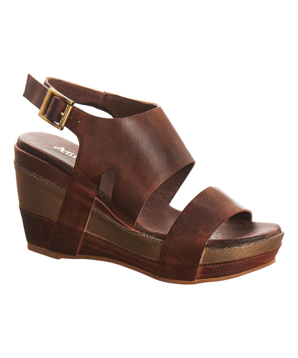 Coffee & Brown Double-Strap Leather Wedge Sandal