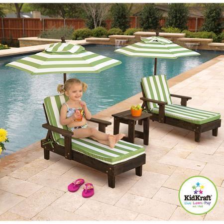 KidKraft Wooden Kona Chaise With Umbrella, Set Of 2   Walmart.com