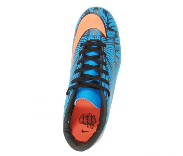 0987ceffada74 Chuteira Society Nike Hypervenom Phelon 2 Neymar Jr Azul e Laranja -  Cabedal confeccionado em material