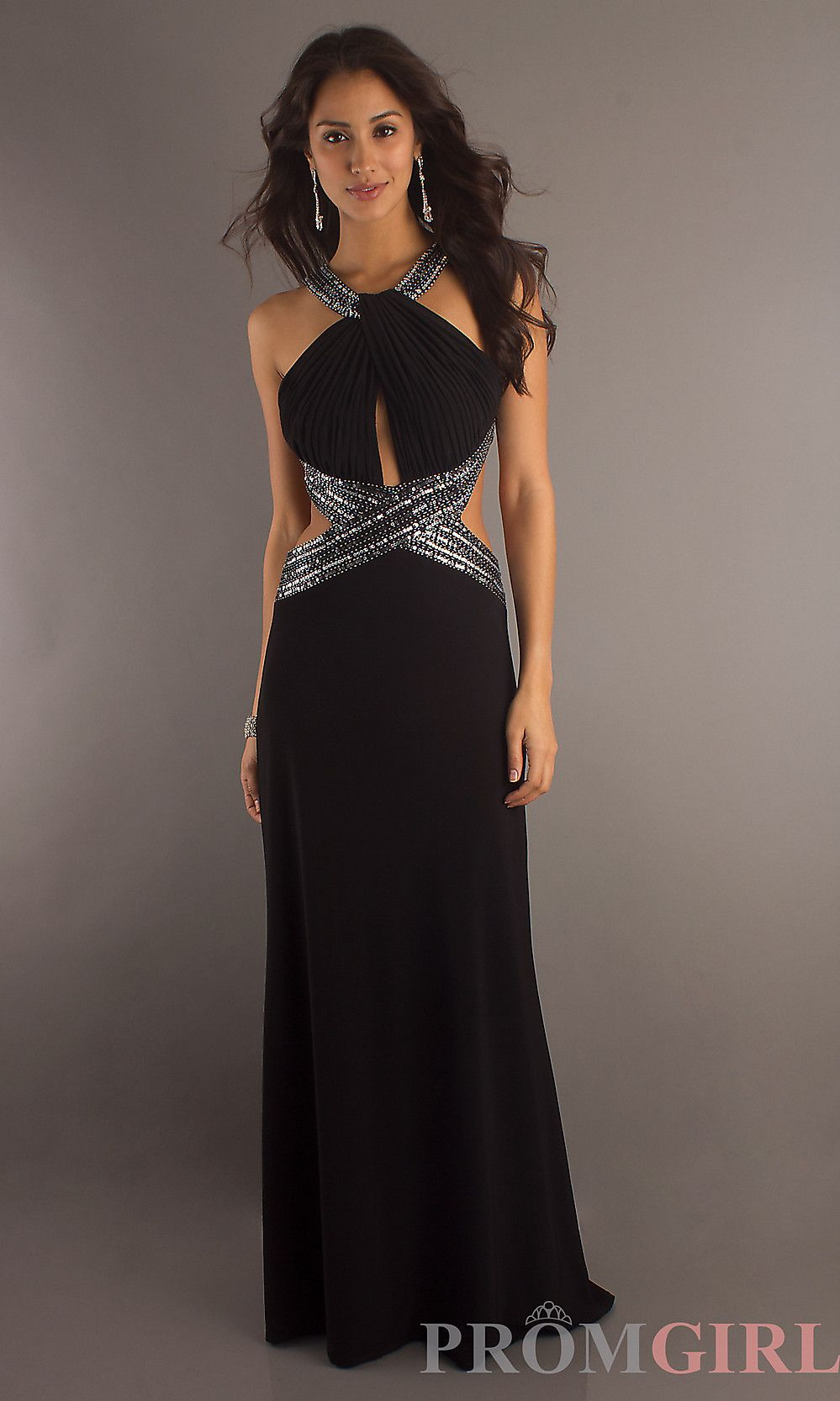 black cut out formal halter gown by betsy & adam