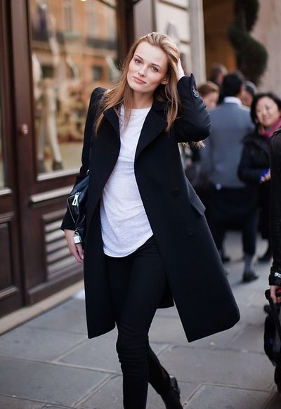 classic black coat, white tee & black jeans #style #fashion ...