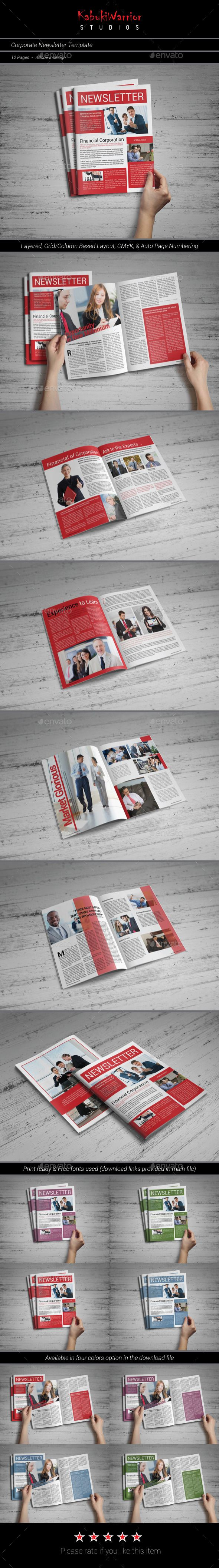Corporate Newsletter Template - Newsletters Print Templates Download ...