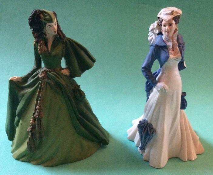 Scarlett O'Hara Franklin Mint Figurine Gone Wind Deception Independence Lot Of 2