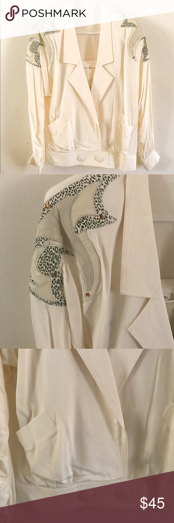80s White Pantsuit with leather accents size 10 #whitepantsuit Spotted while shopping on Poshmark: 80s White Pantsuit with leather accents size 10! #poshmark #fashion #shopping #style #Other #whitepantsuit