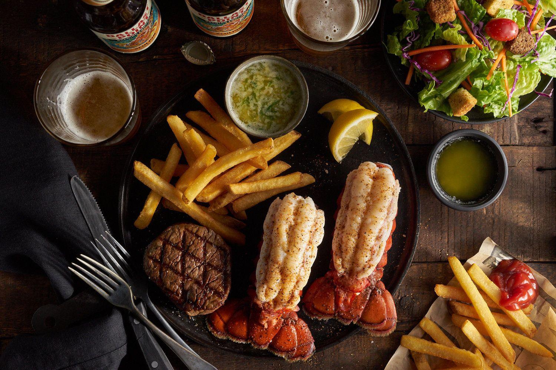 Lobster Tail Steak Salad And Beer A Big Dinner Noel Barnhurst Photographer