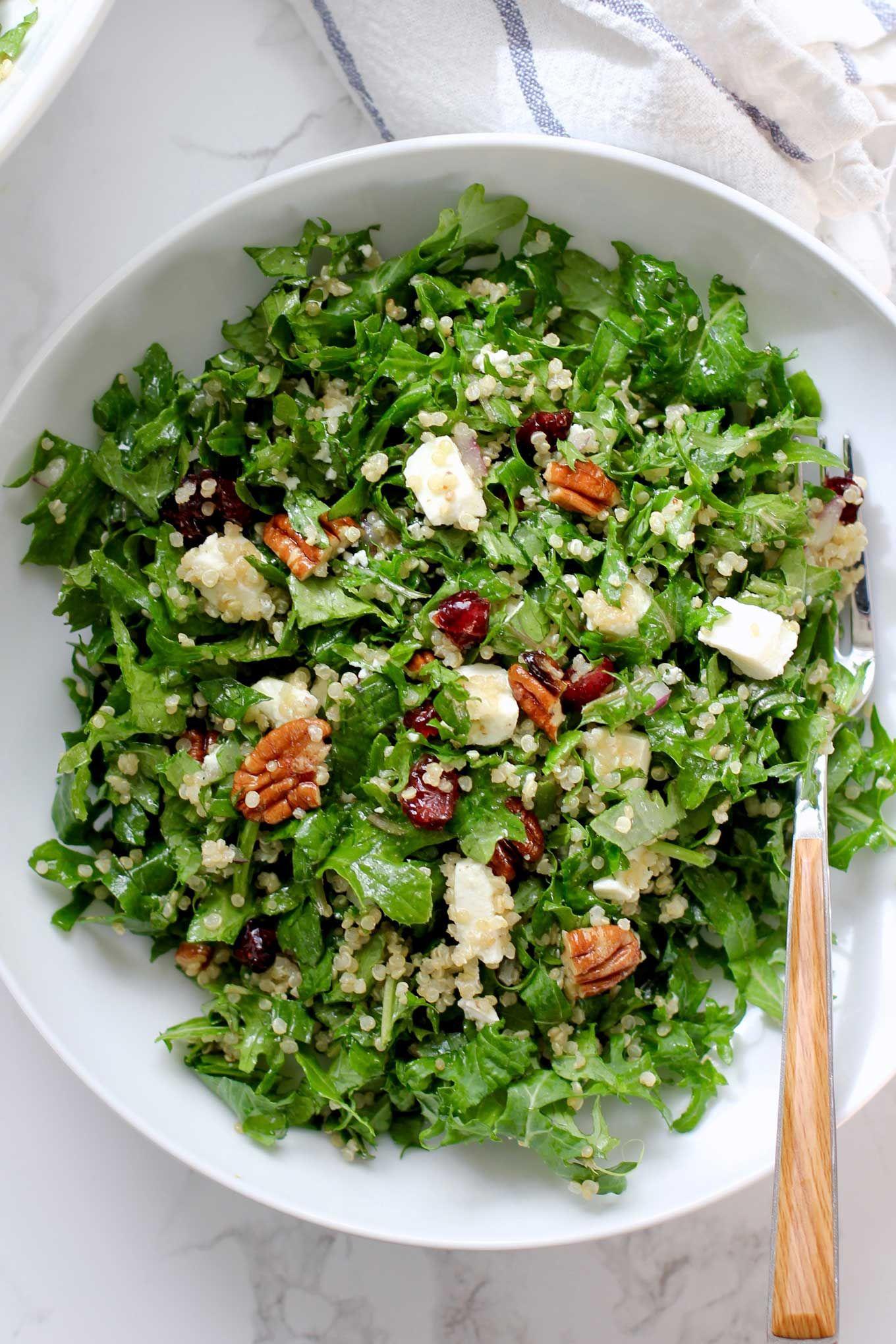 Quinoa Kale Cranberry And Pecan Salad Green Valley Kitchen Recipe Vegetarian Salads Healthy Recipes Pecan Salad Recipe