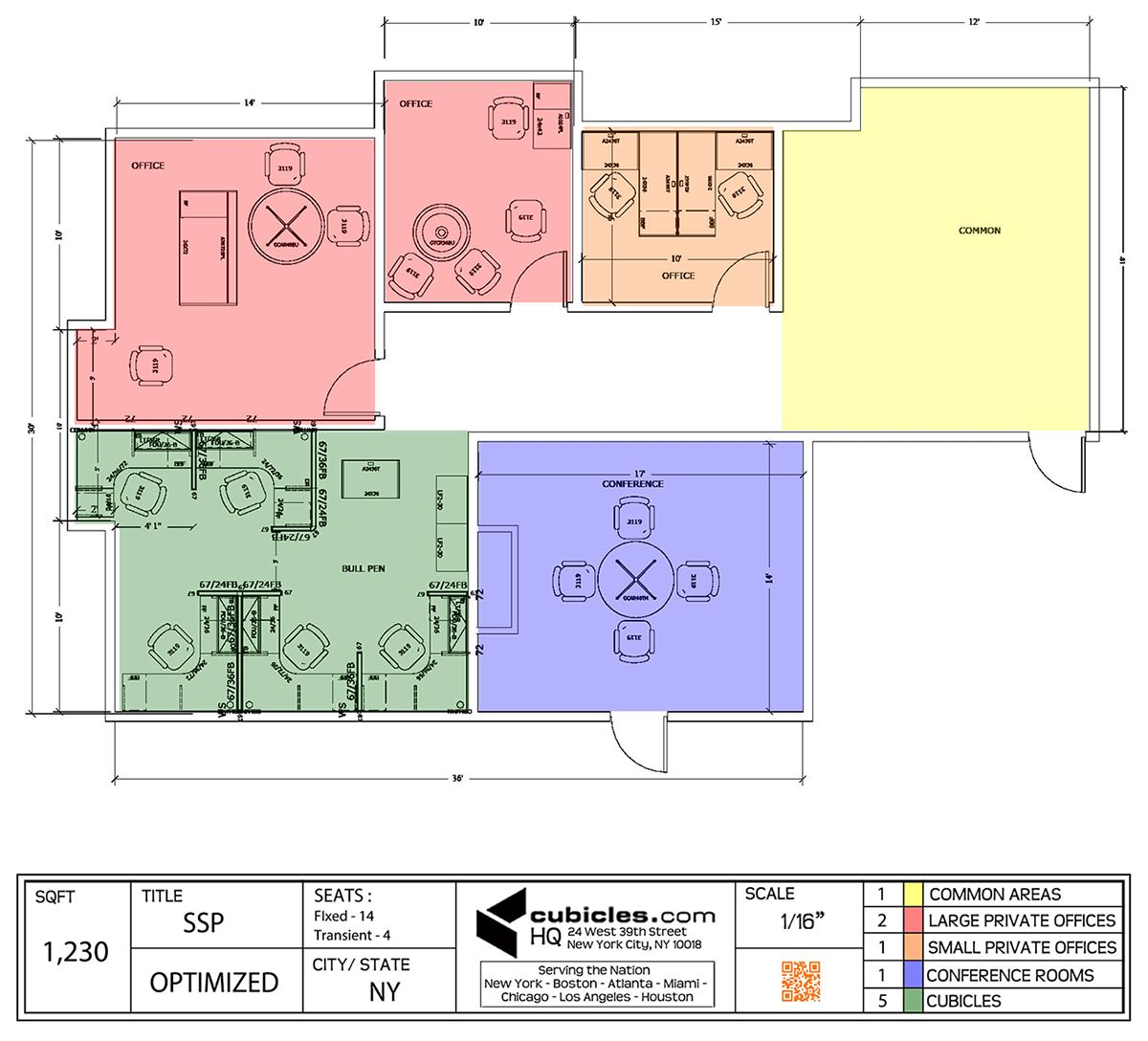 Office floor plan for two large offices and cubicles in for New office layout design