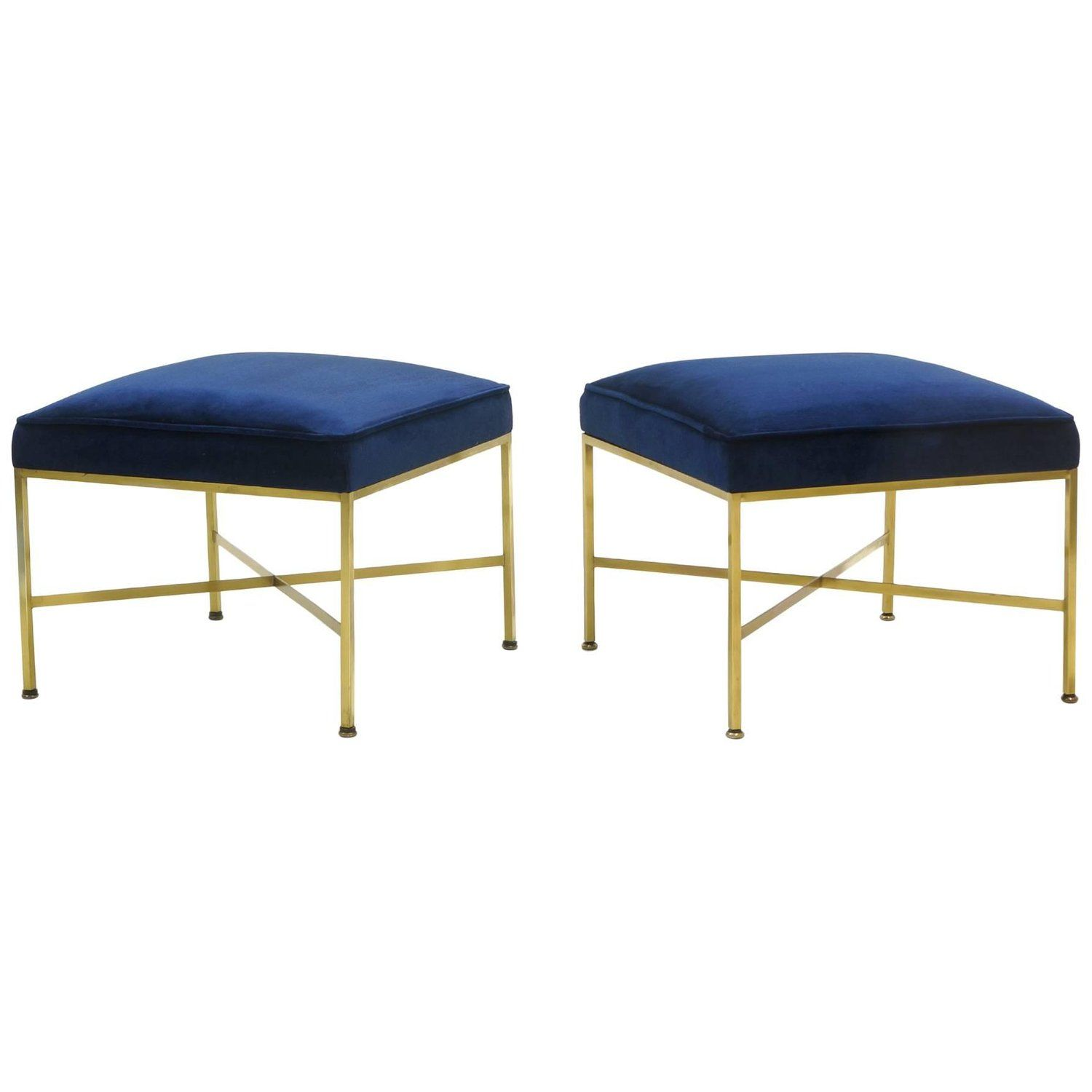 Pair of paul mccobb stools solid brass frames and cross stretchers