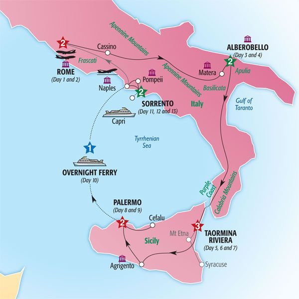 Map Of South Of Italy.14 Day Country Roads Of Southern Italy Sicily In 2019 Southern