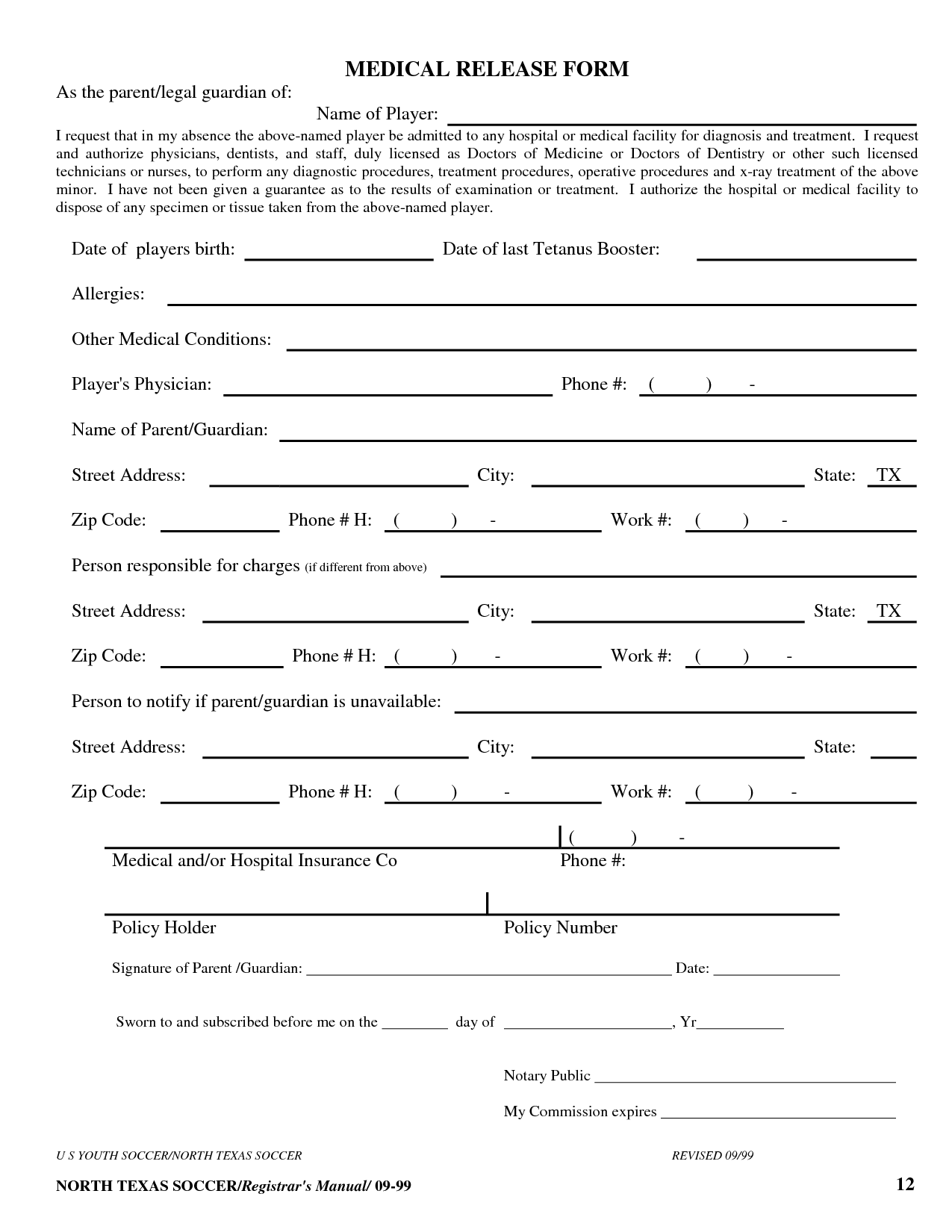 Free Printable Medical Release Form Template | Medical
