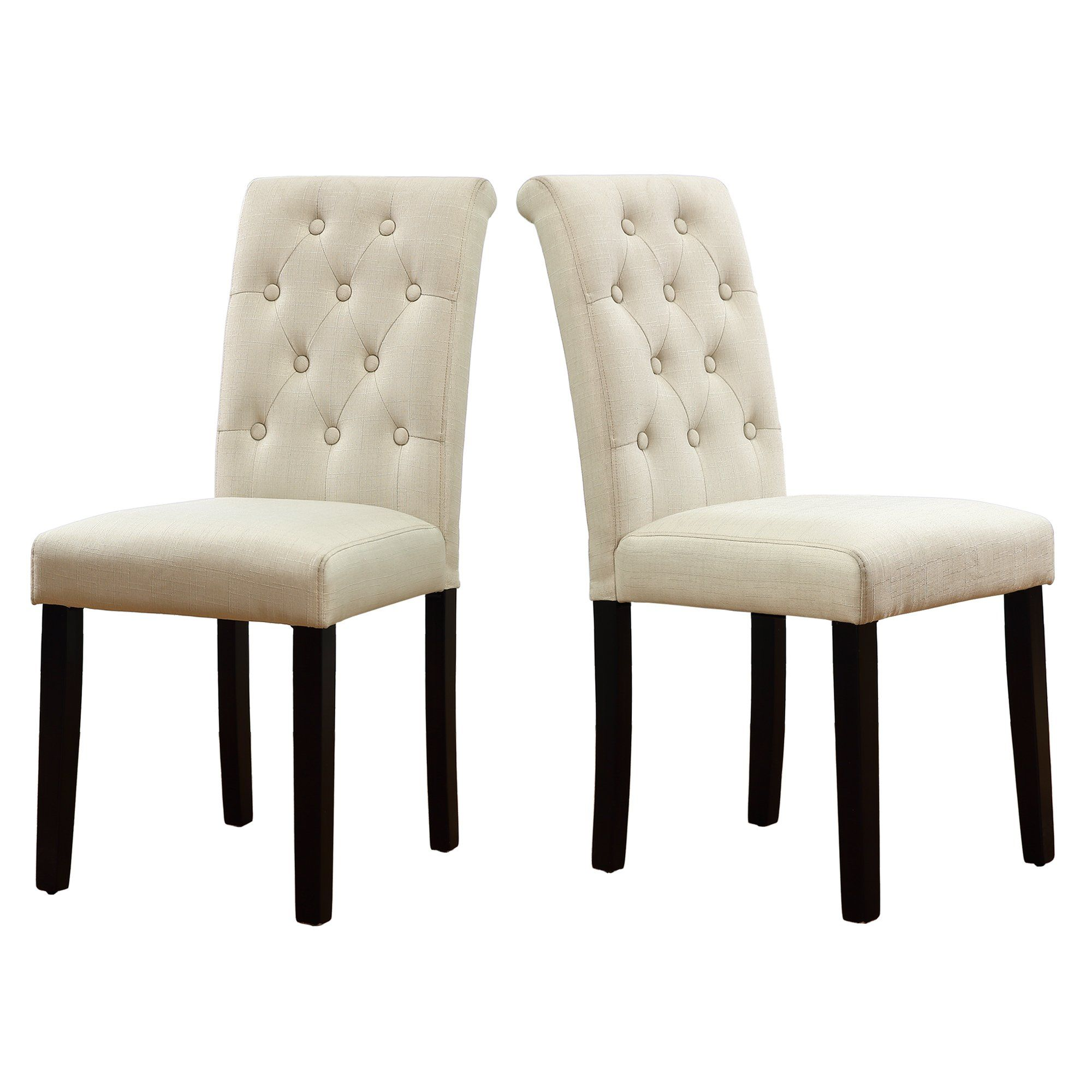 Lssbought Buttontufted Upholstered Fabric Dining Chairs With Solid