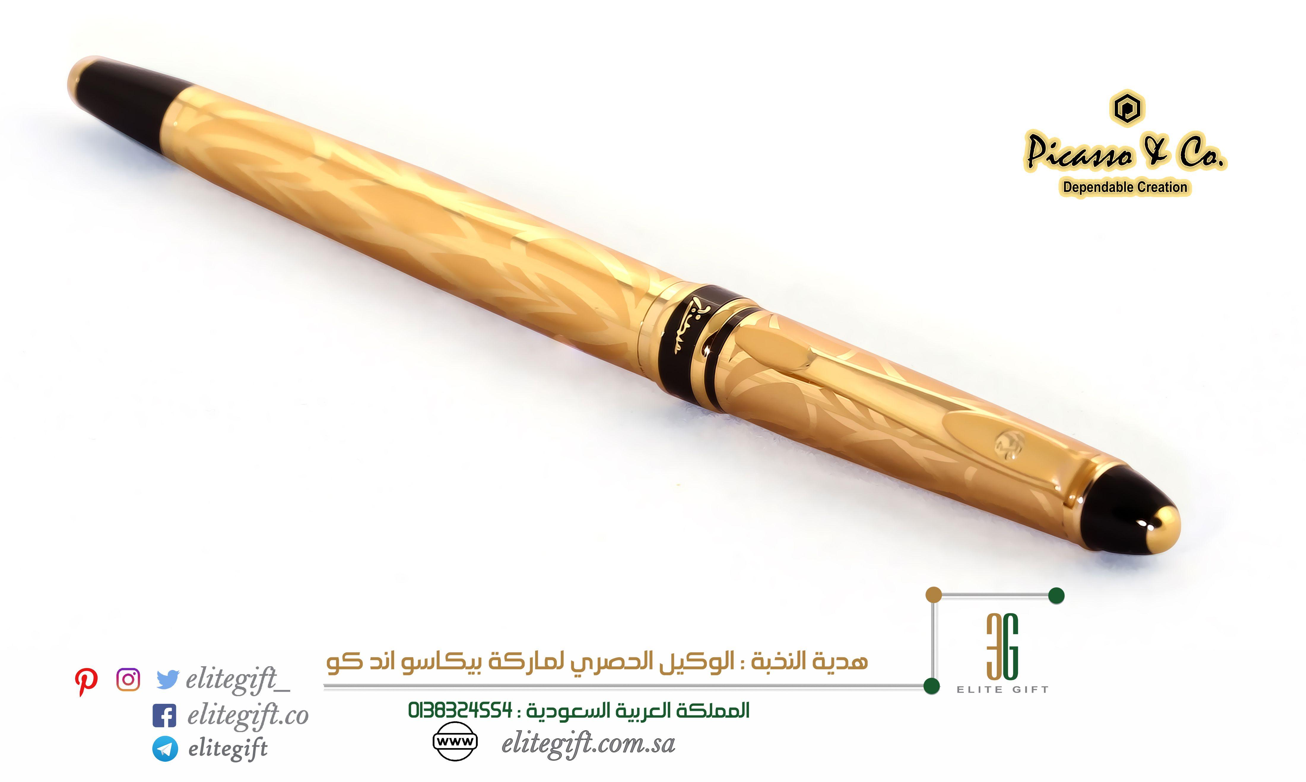 جمالية الشكل وانسيابيته ومتانة وجودة التصميم تجتمع في هذا القلم المميز من بيكاسو اند كو اللون الذهبي المرصع بالنقوش على ك Writing Instruments Oils Rolling Pin